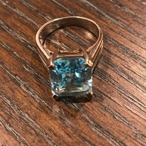 Jewelry - FREE 2nd ring, Rhodium plated blue stone ring with